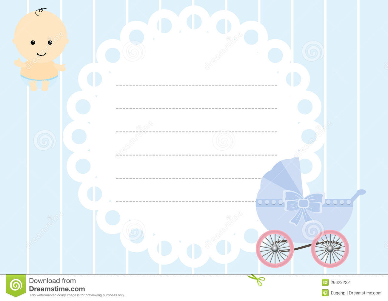 Baby Boy Arrival Card Stock Photography - Image: 26623222