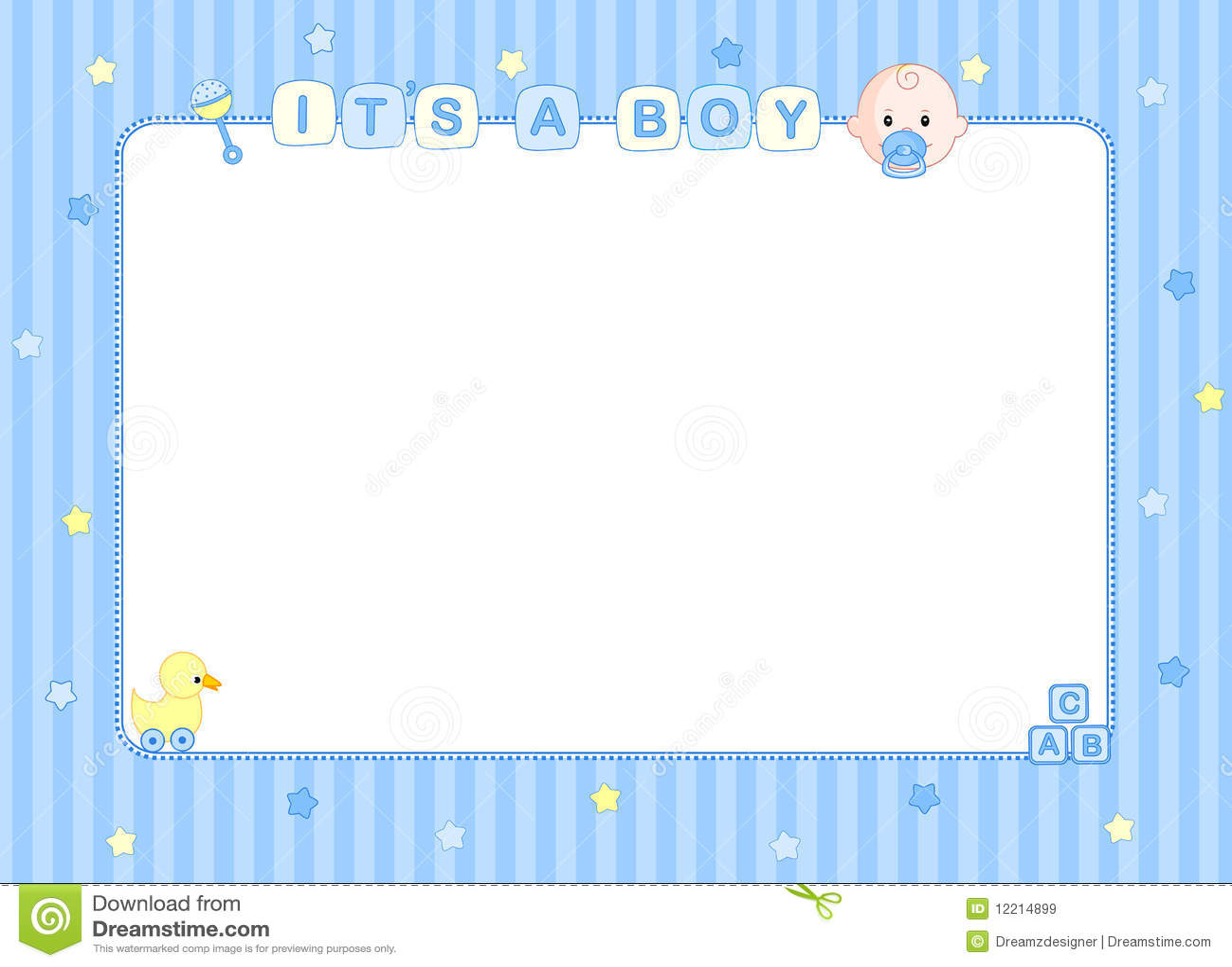 Baby Boy Arrival Card Border Stock Vector - Illustration