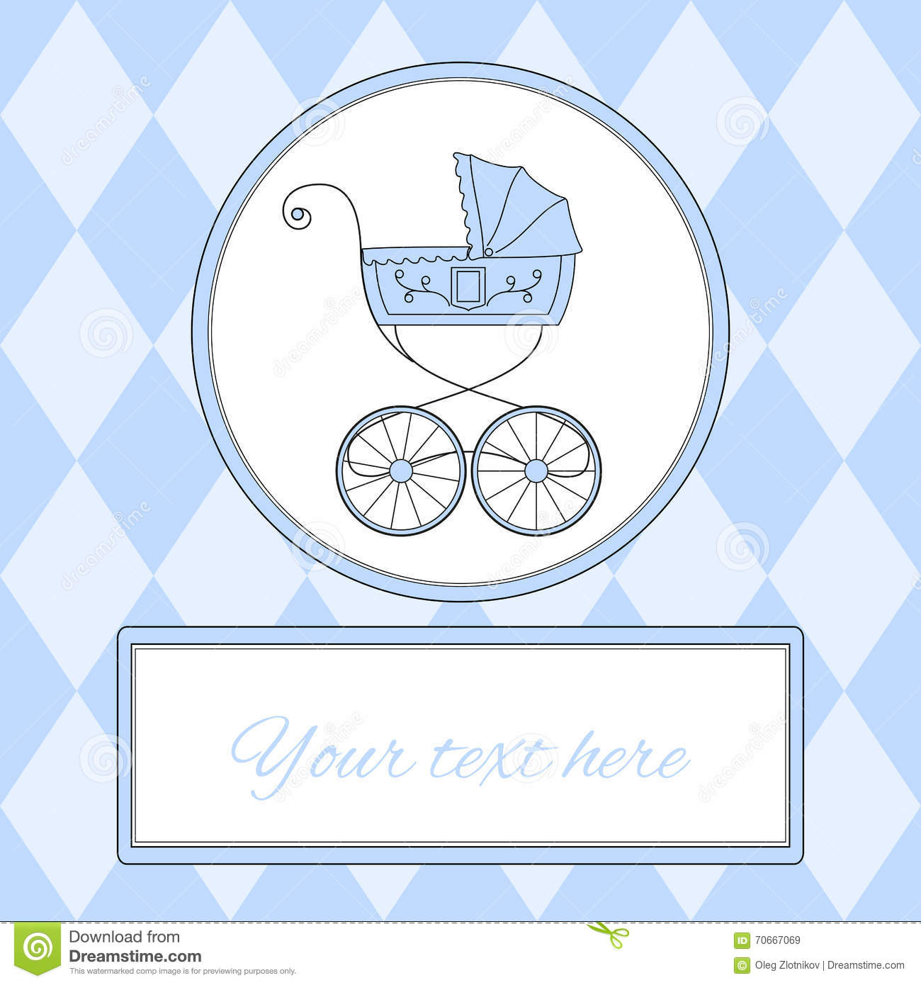 baby boy arrival card or invitation with retro styled baby carriage