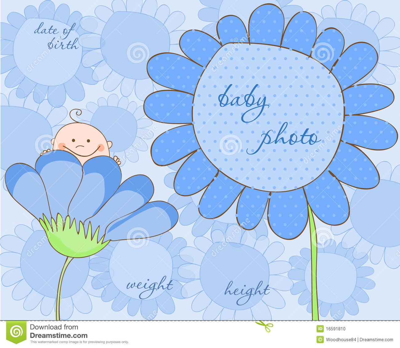 baby boy arrival frame for photo stock vector