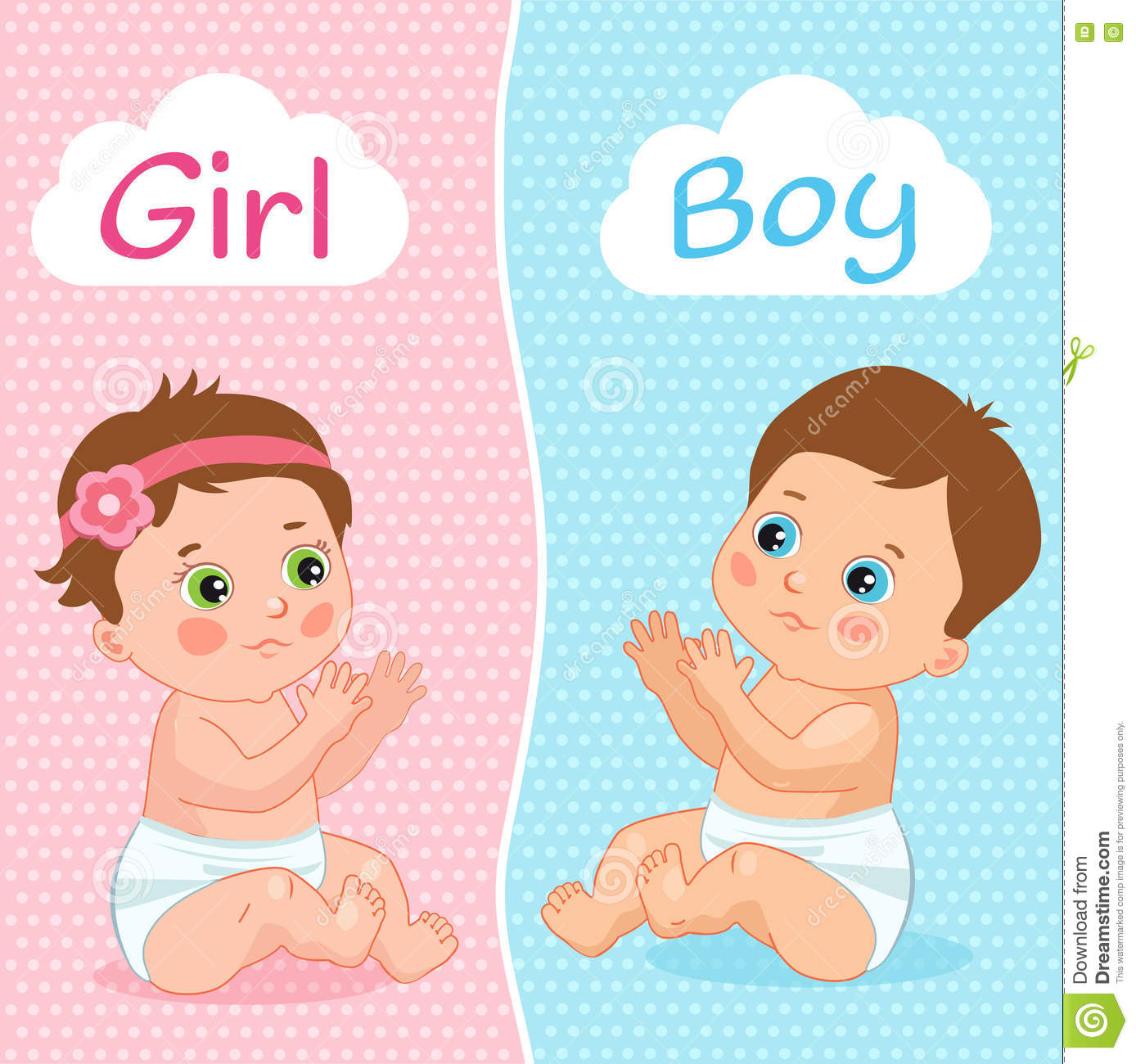 Baby Boy And Baby Girl Vector Illustration Two Cute Cartoon Babies
