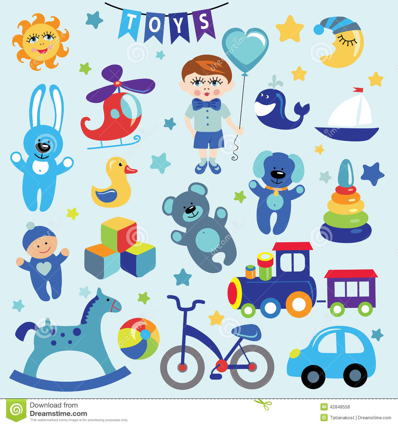 Baby Girl And Boy With Baby Toy Icons Eps Stock Vector