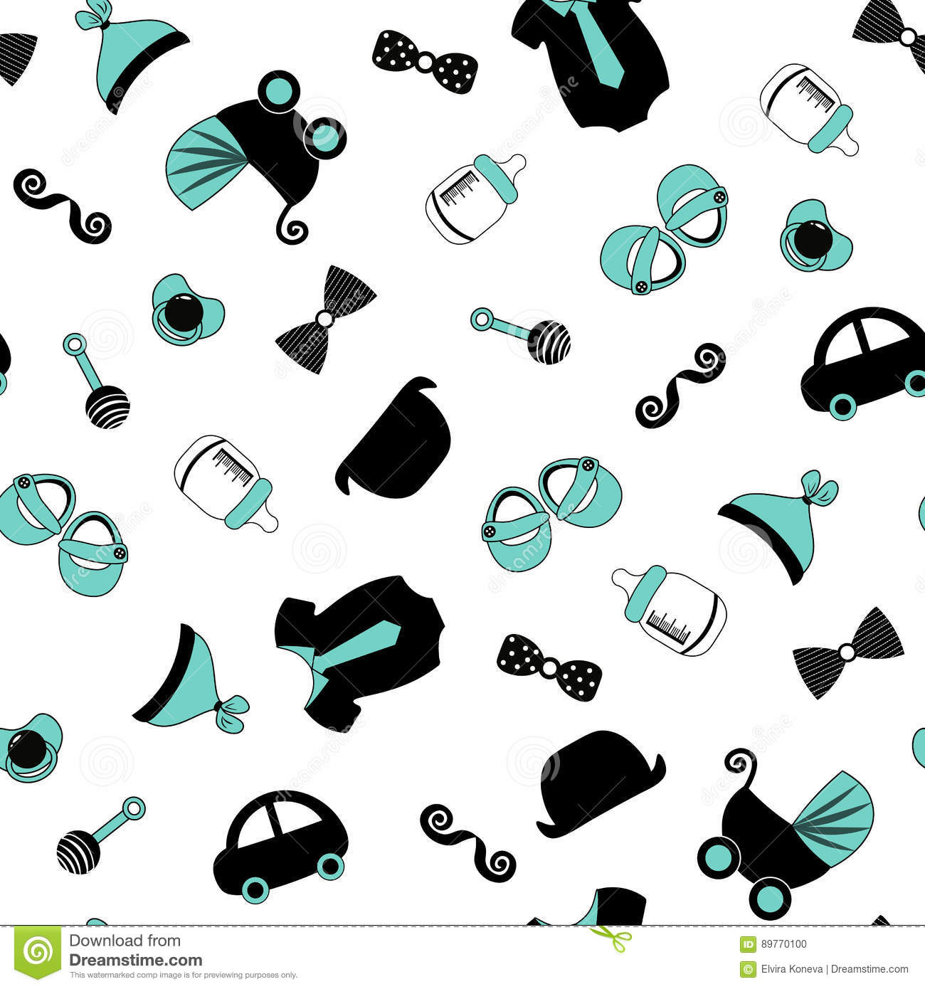 Baby boy background little man seamless pattern blue grey cream color illustration of baby
