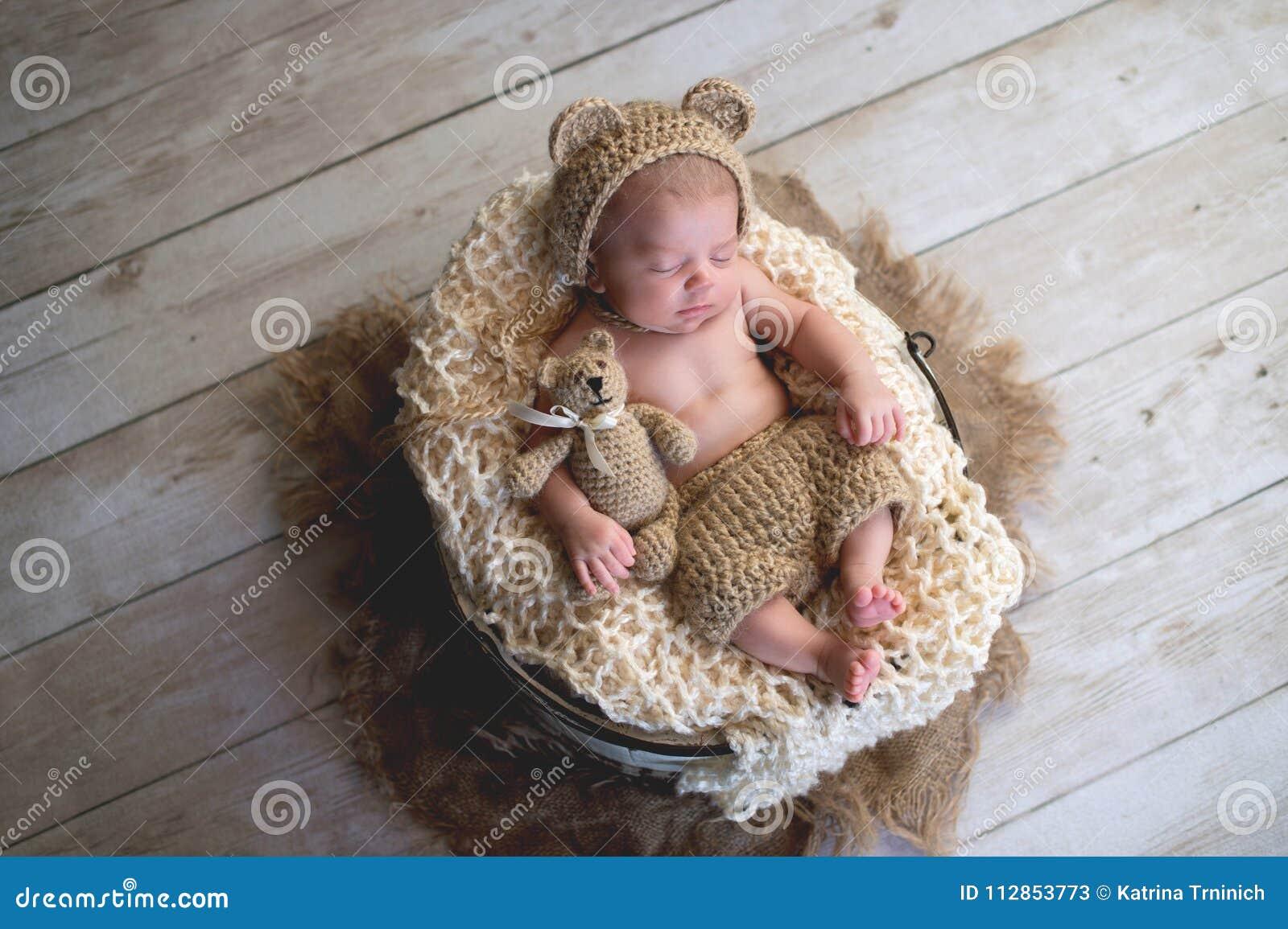 Crochet Baby Hats Fuzzy Teddy Bear Hat with ears - White | 955x1300