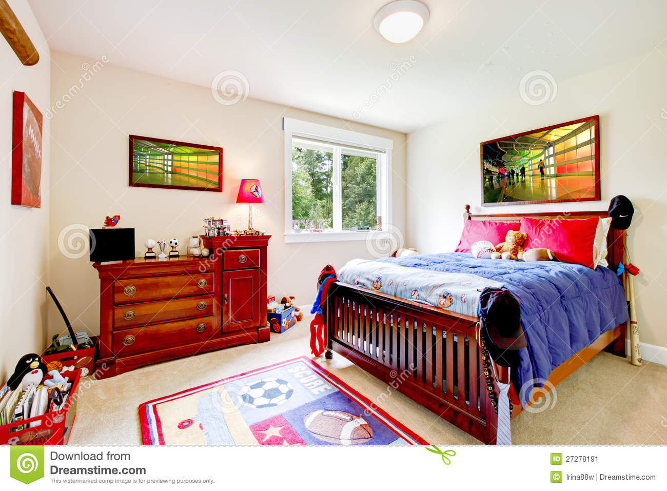 baby boy bedroom with wood furniture and colorful art with red and