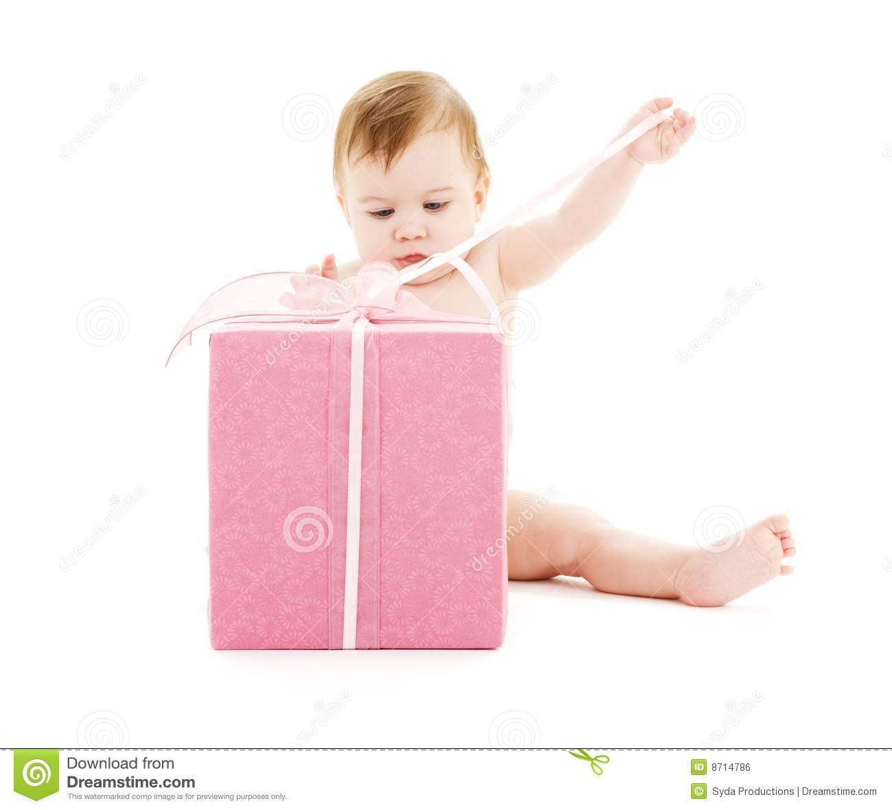 Baby Boy Gift Box : Baby boy with big gift box royalty free stock image