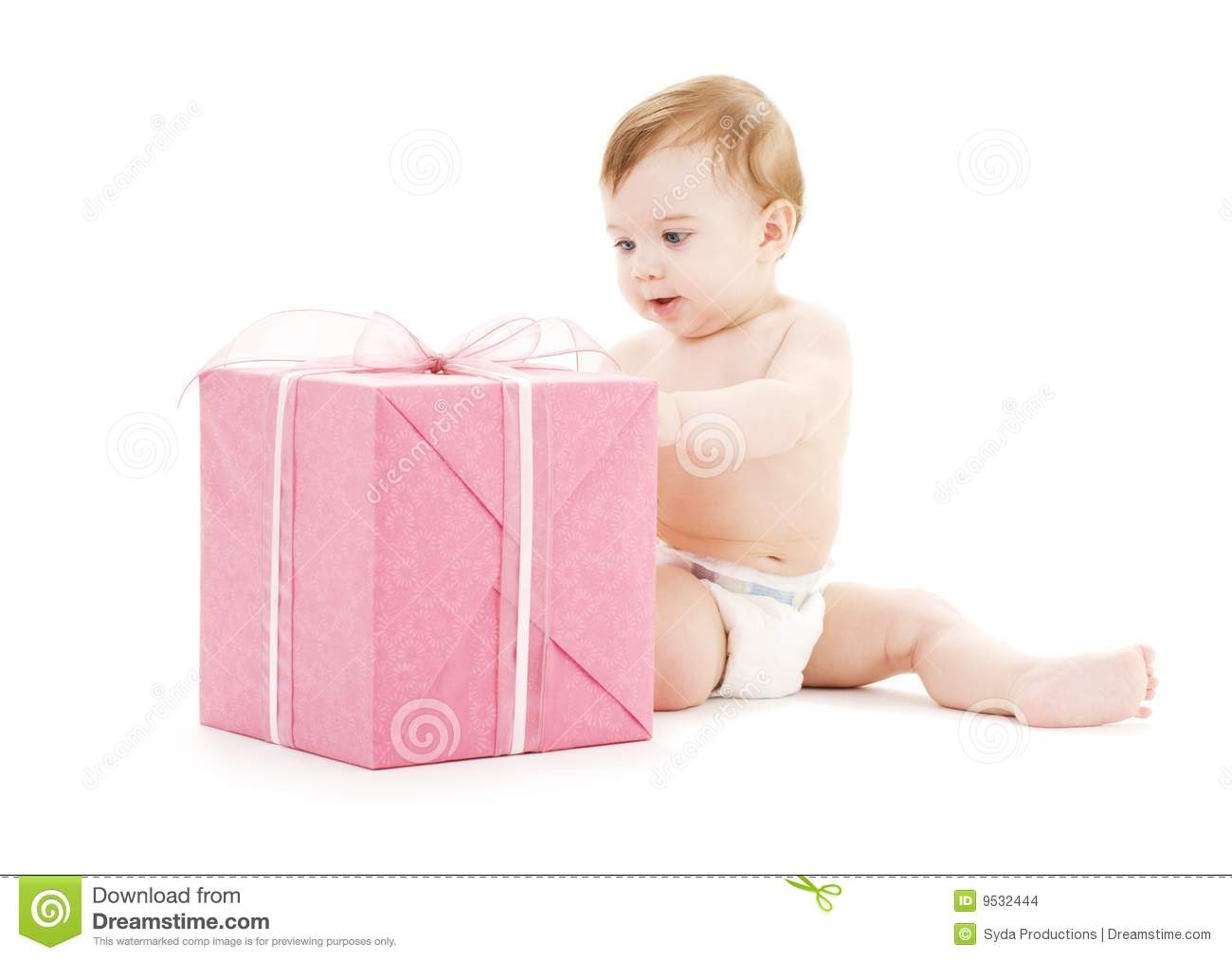 Baby Boy Gift Box : Baby boy with big gift box stock images image