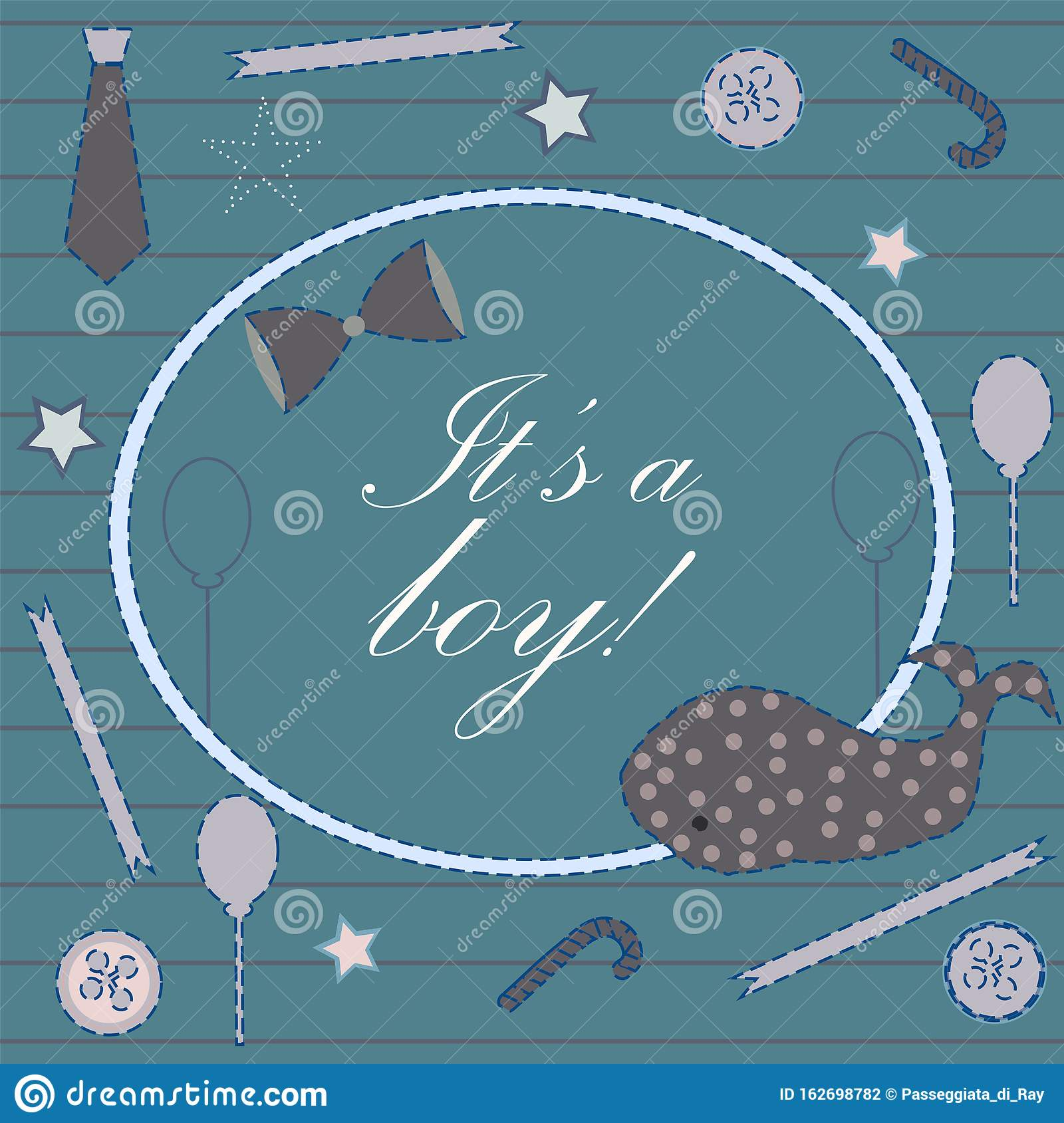 Baby Boy Birth Announcement Baby Shower Invitation Card Stock Illustration Illustration Of Happy Background 162698782