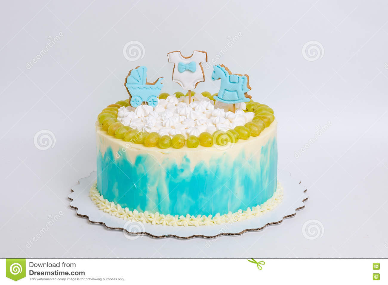 Terrific Baby Boy Birthday Cake With Gingerbread And Grapes Stock Photo Funny Birthday Cards Online Elaedamsfinfo