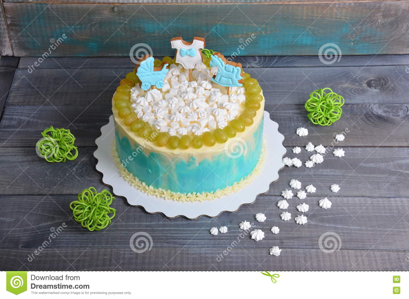 Astonishing Baby Boy Birthday Cake With Gingerbread And Grapes Stock Image Funny Birthday Cards Online Alyptdamsfinfo