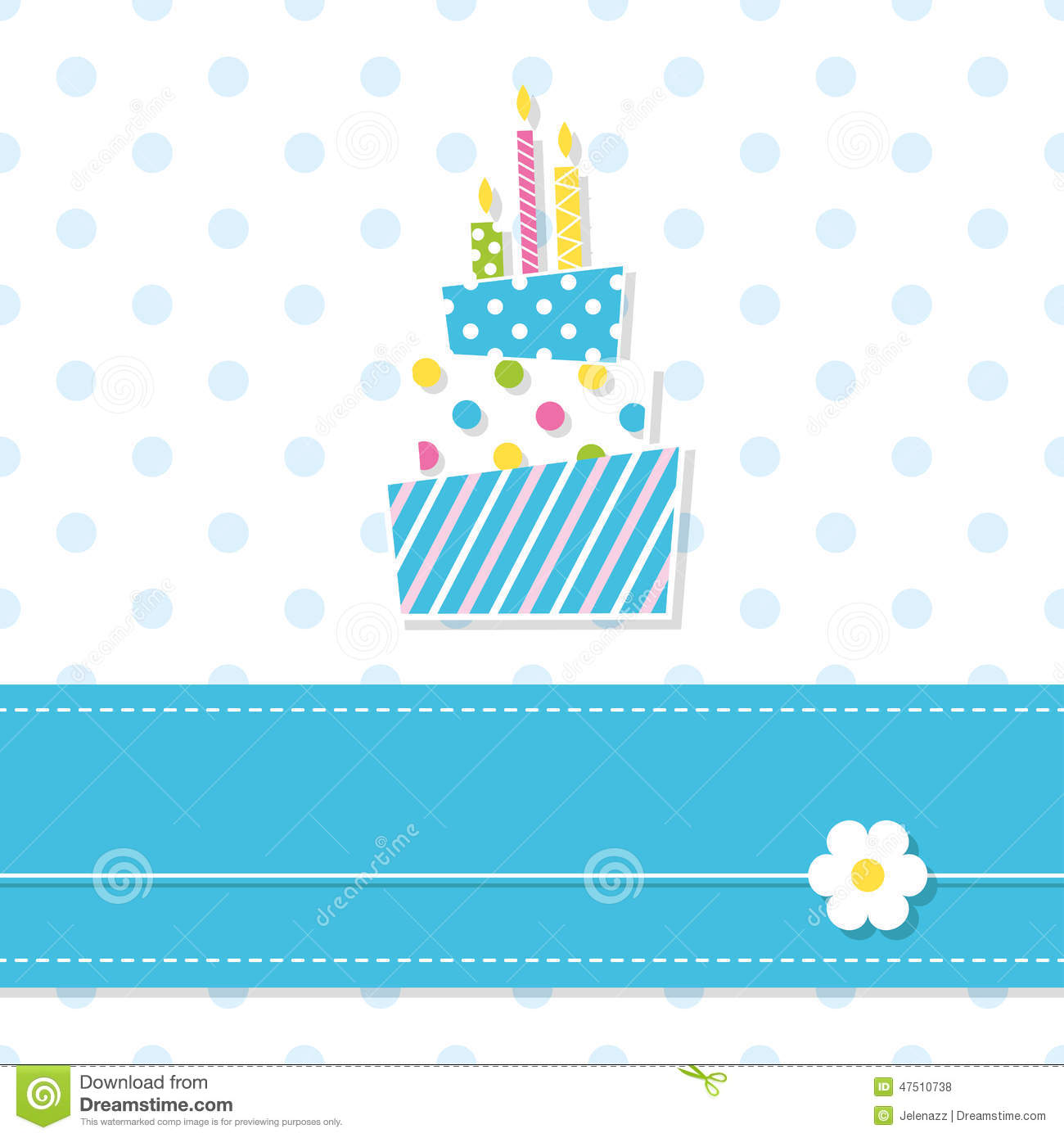 ... candles with blue ribbon and flower on polka dot pattern background