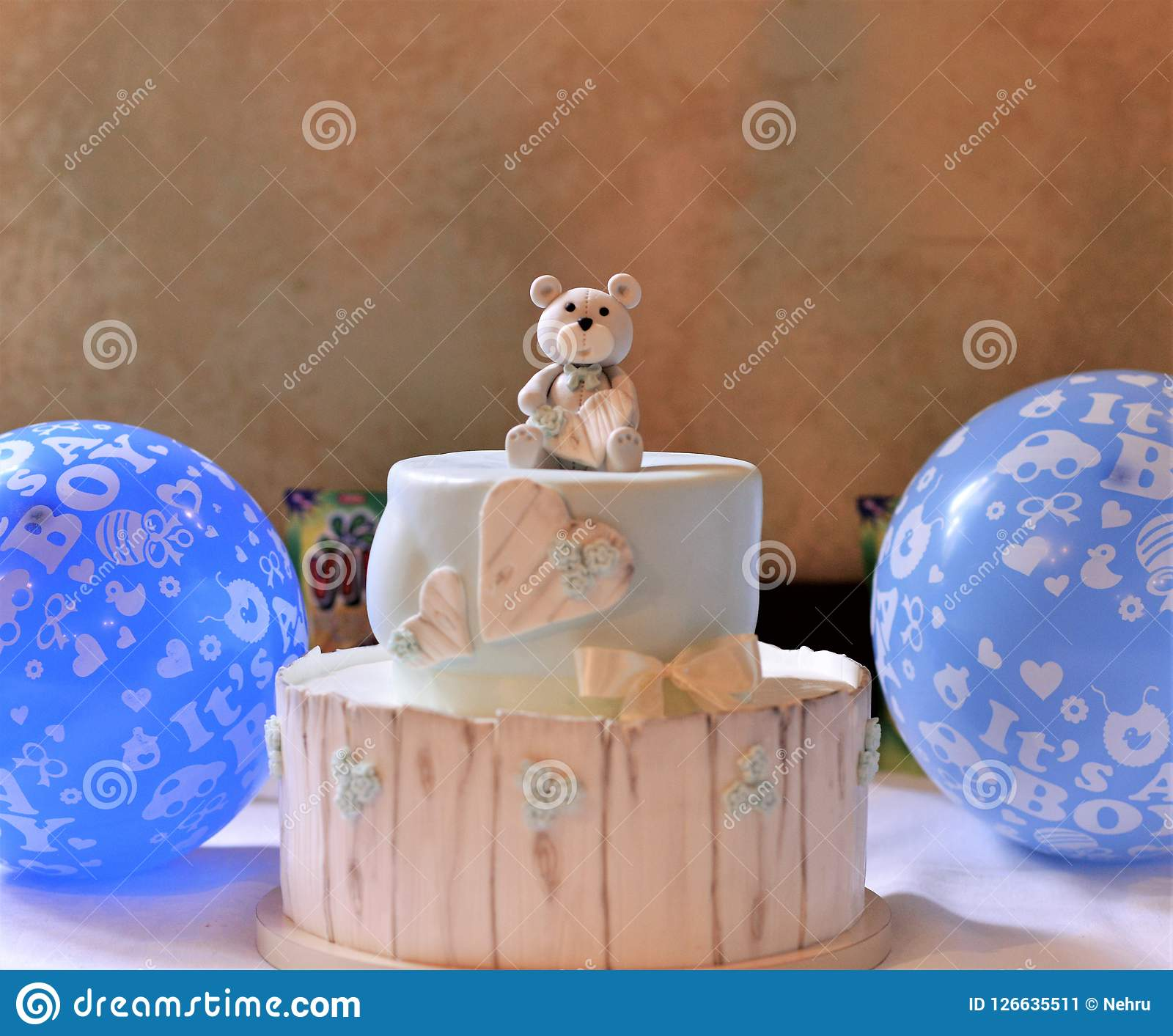Baby Boy Birthday Cake On A Table Image Of