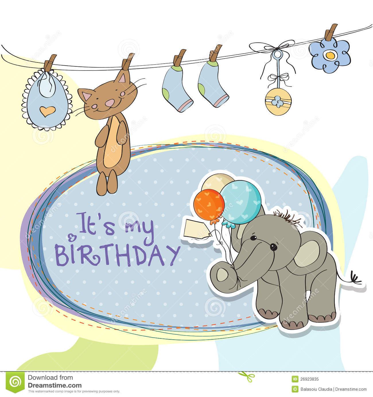 baby boy birthday card with elephant royalty free stock photo, Birthday card