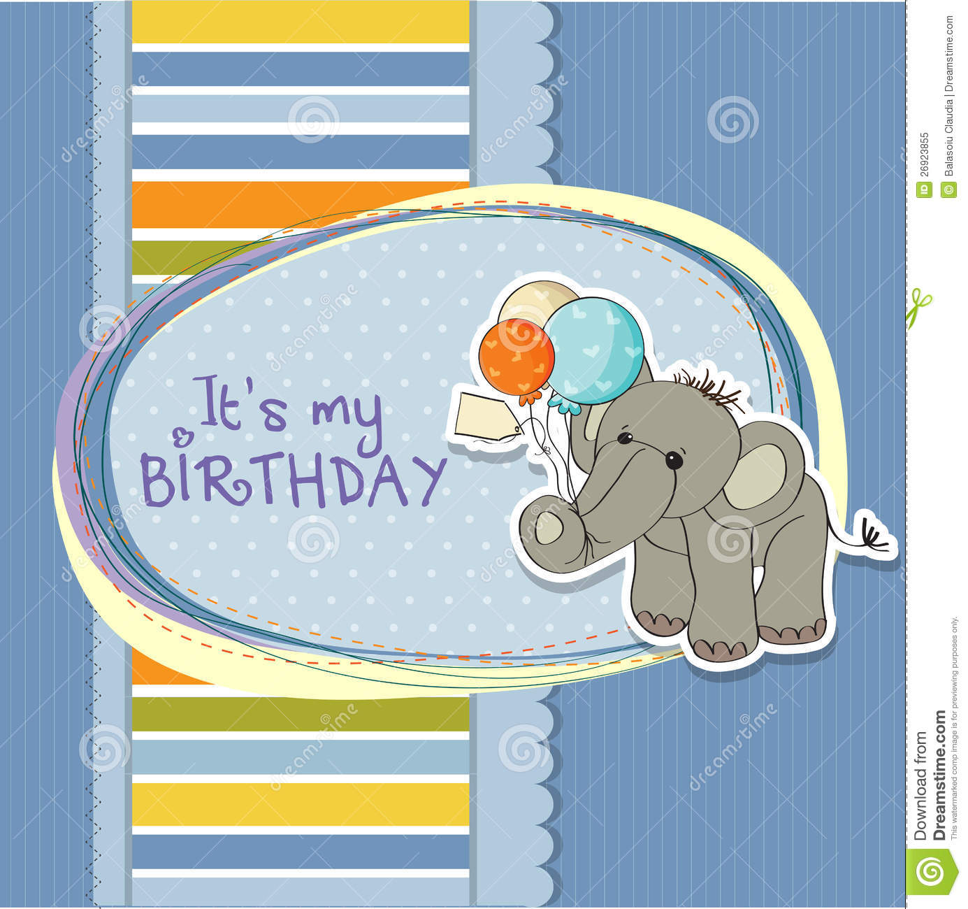 Baby Boy Birthday Card With Elephant