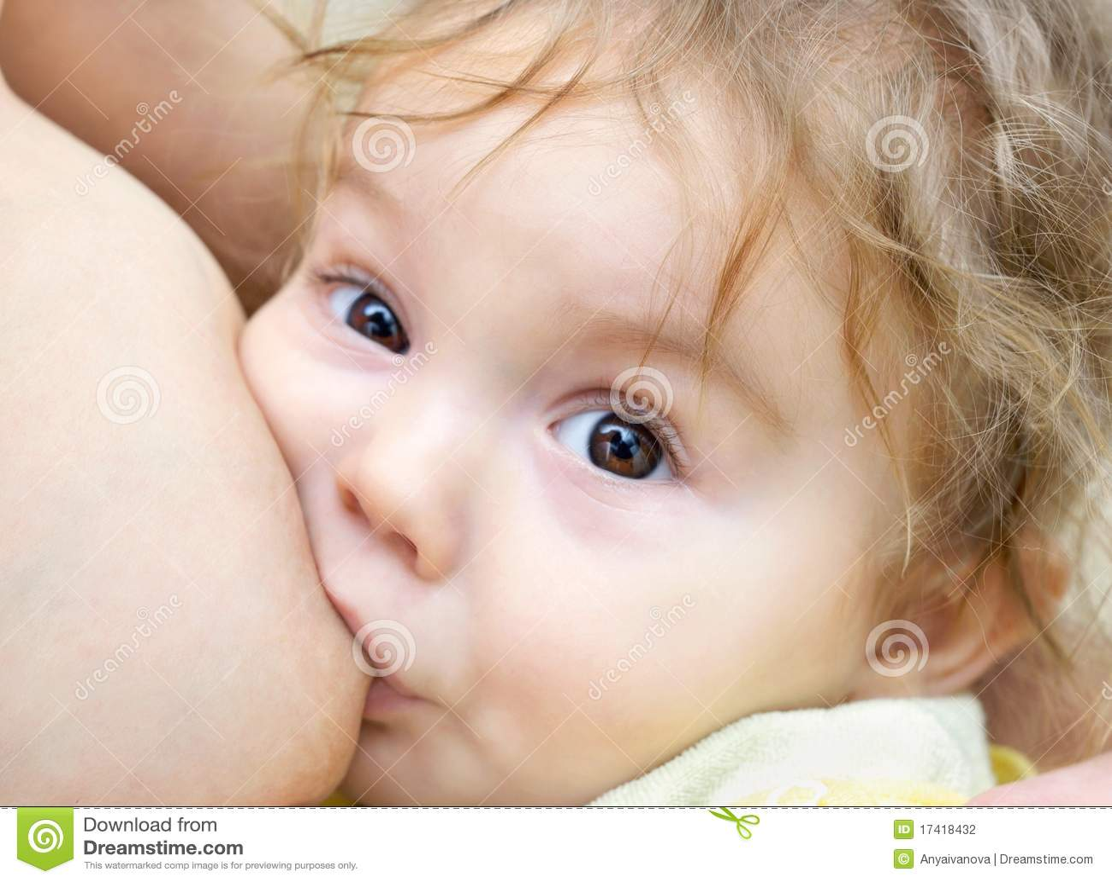 Baby Boy With Brown Eyes Nursing Stock Photo Image 17418432