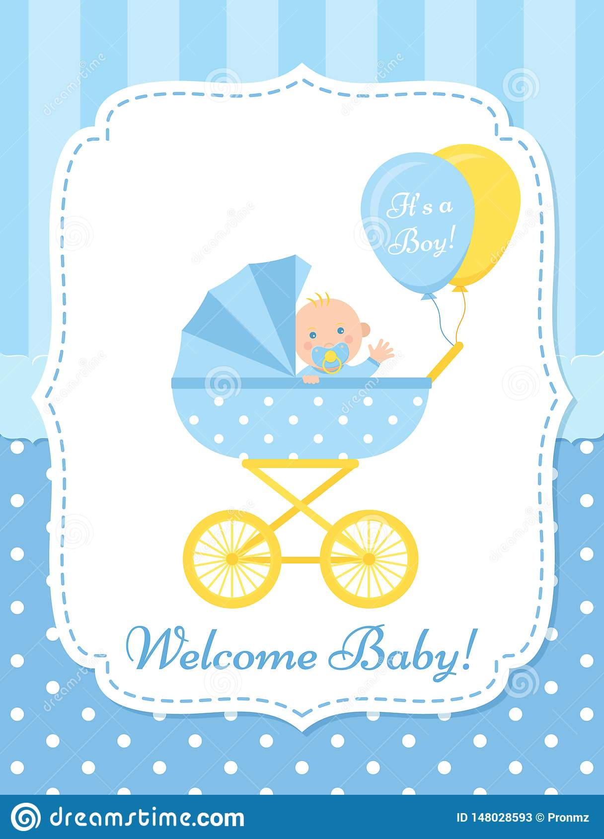 Baby Shower Card Design Vector Illustration Birthday Template