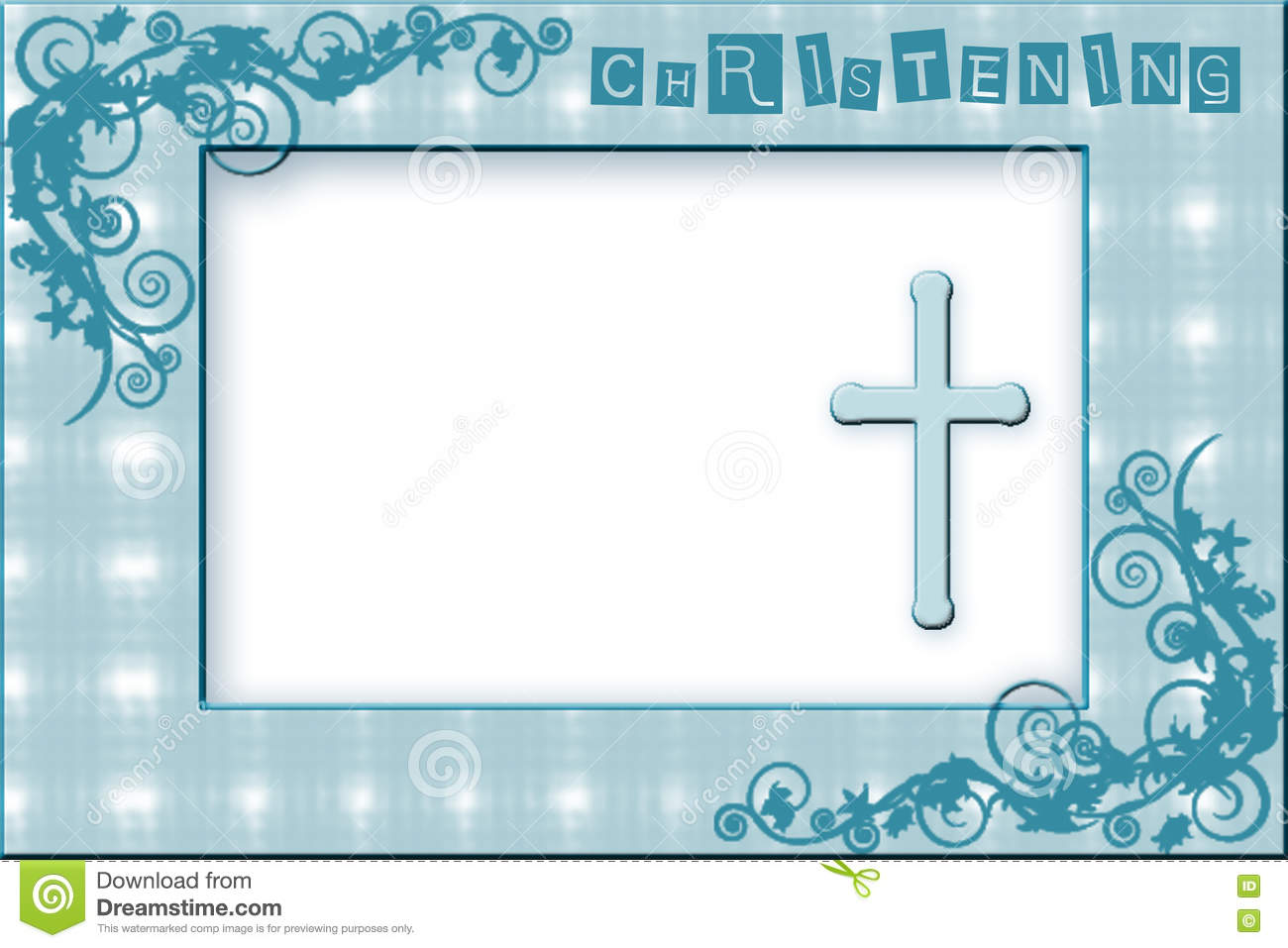 Baby Boy Christening Invitation Stock Illustration Illustration Of