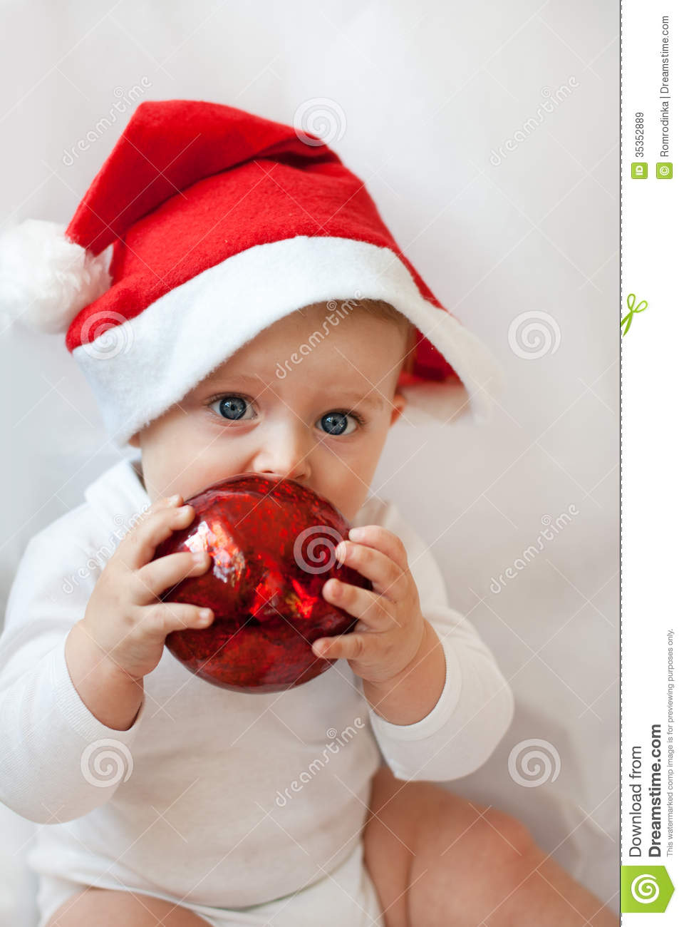 83a6f6b60ca Baby Boy With Christmas Cap And Balls Stock Image - Image of ball ...