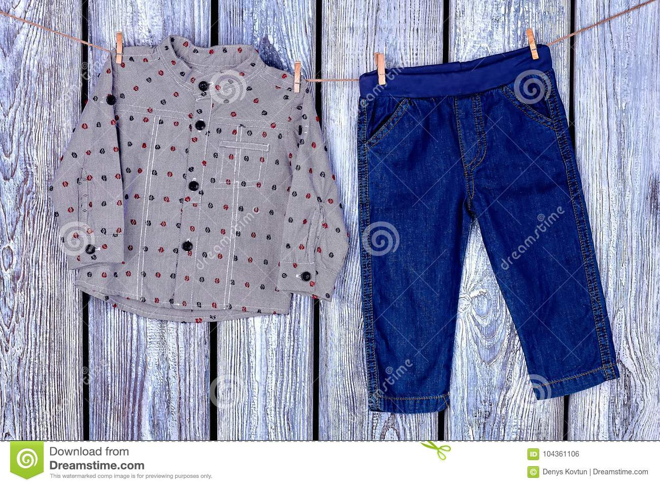 ed672ab51a55 Baby Boy Clothes Hanging On Rope. Stock Photo - Image of apparel ...