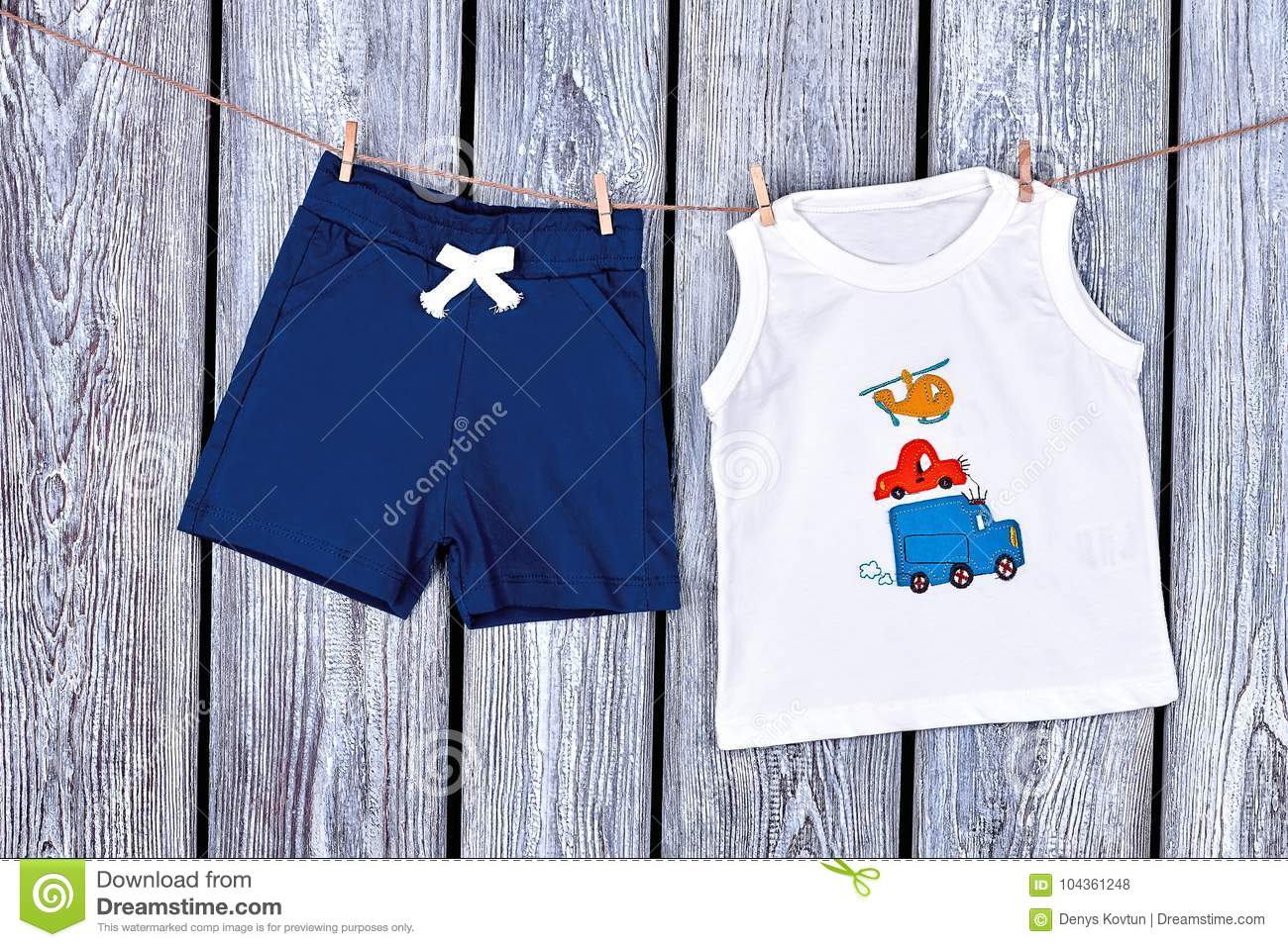4c054f258 Baby Boy Clothes Hanging On Rope. Stock Photo - Image of design ...