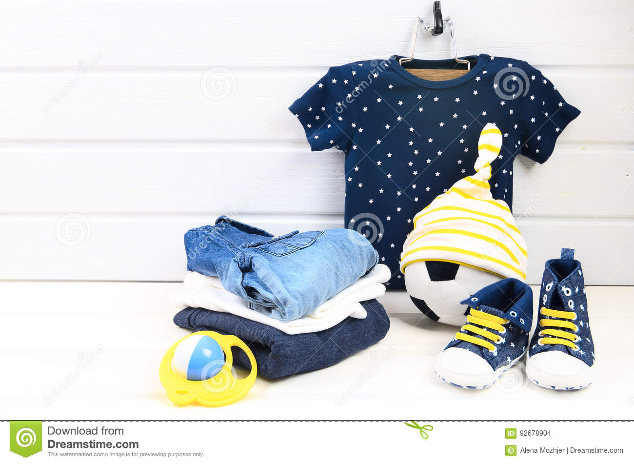 baby boy clothing set blue t shirt with white stars jeans shir