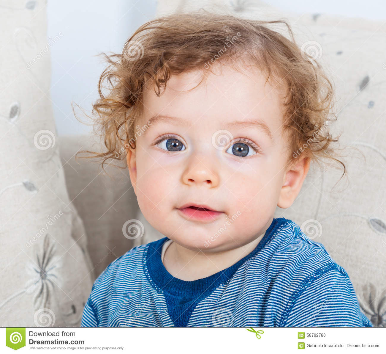 Baby Boy With Curly Hair Stock Photo Image Of Emotion 58792780