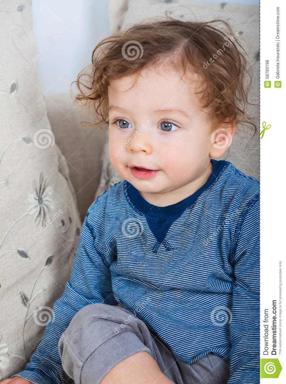 baby boy with curly hair stock photo image of baby