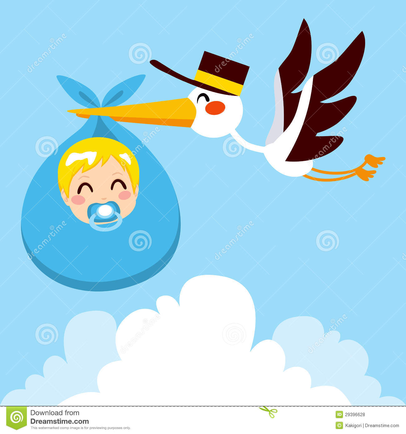 Baby Boy Delivery Stork Stock Vector Image Of Clouds