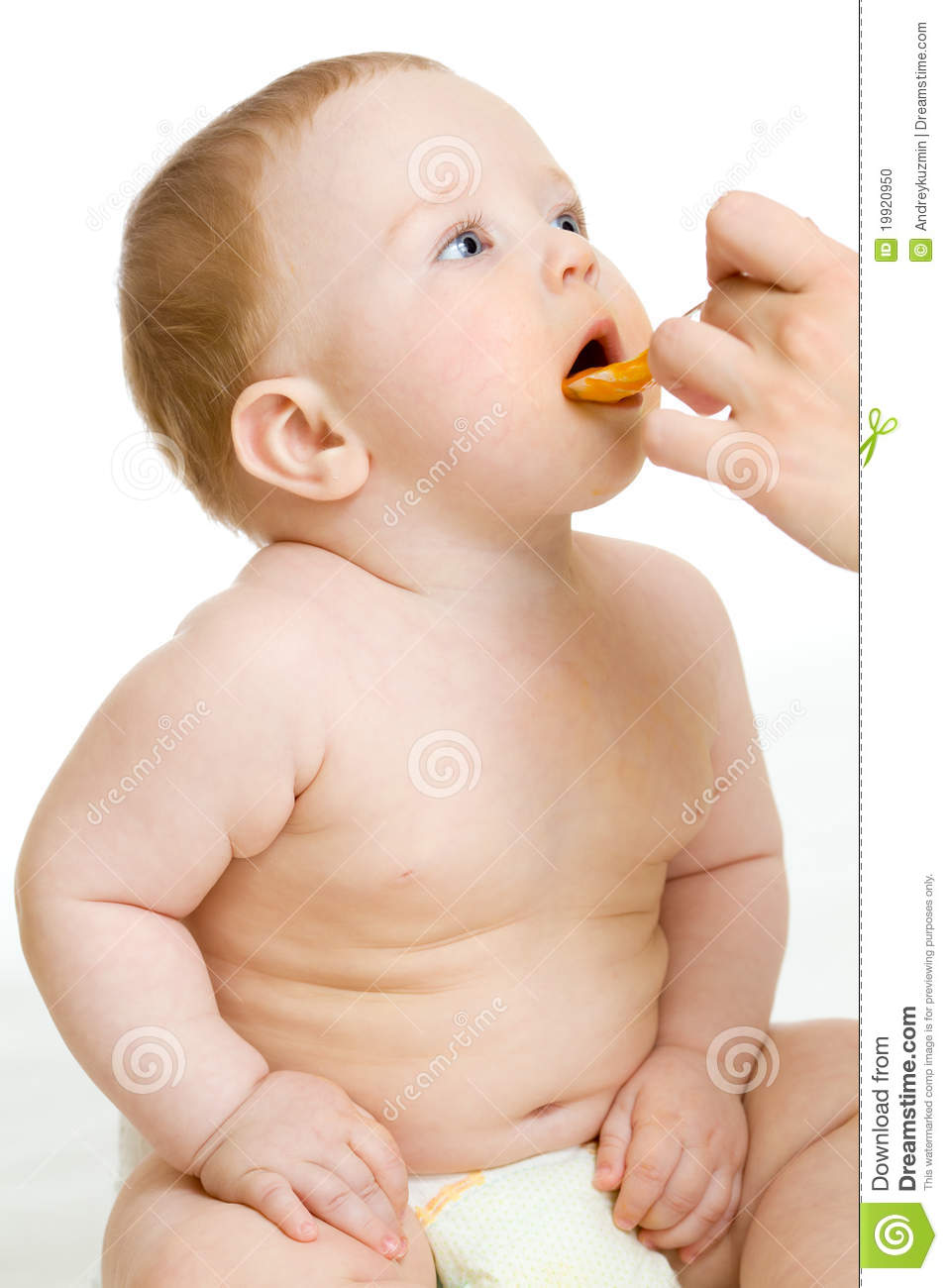 Baby boy feeding isolated with parent hand