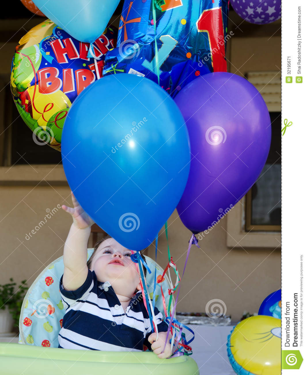 White balloon chair - Baby Boy First Birthday Balloons Stock Image Image 32195671
