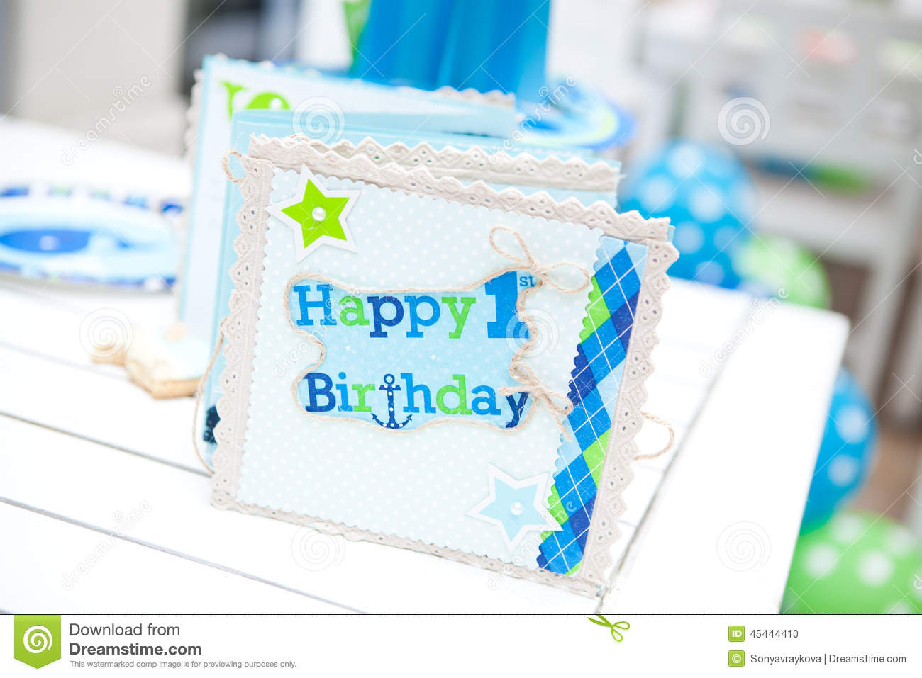 baby boy first birthday party guest book stock photo image of