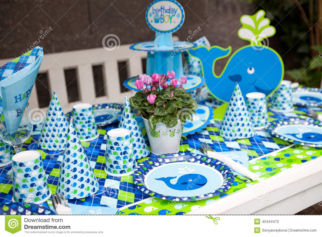 Baby boy first birthday party outdoor table set stock for Baby birthday party decoration