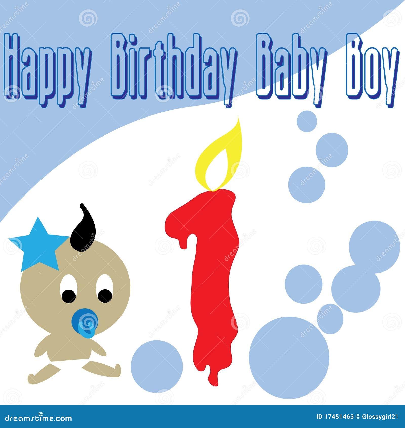 Baby Boy First Birthday Wallpaper Stock Vector