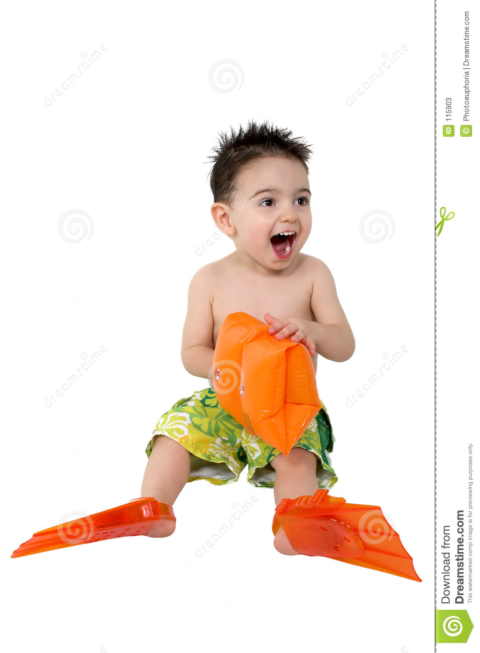 Download Baby Boy With Flippers And Water Wings Stock Image - Image of safety, people: 115903