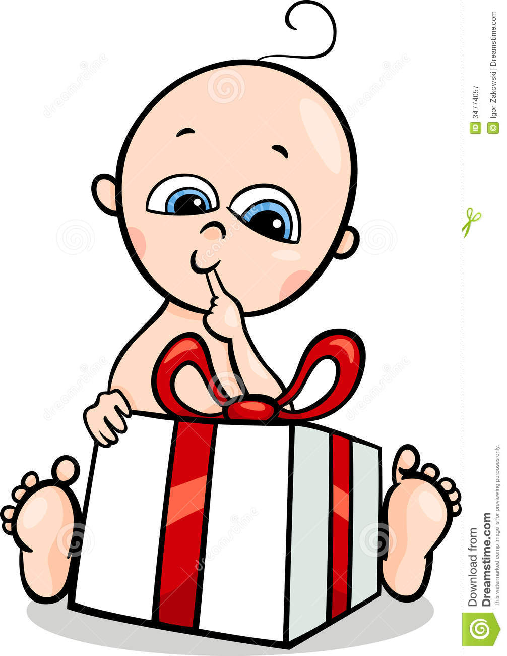 Baby Boy With Gift Cartoon Illustration Royalty Free Stock Photography ...
