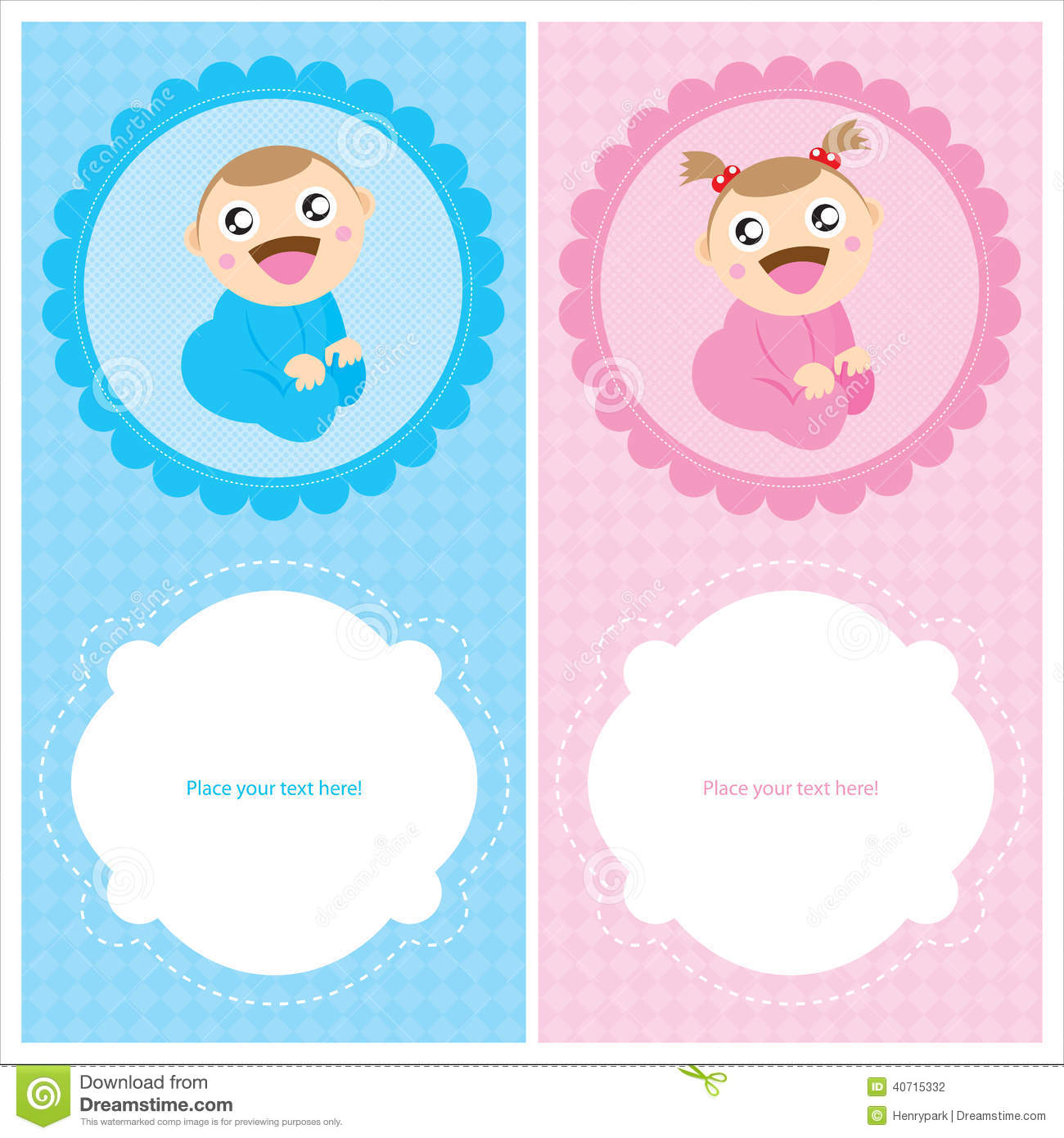 Baby Boy And Girl Greeting Card Design Stock Vector Illustration
