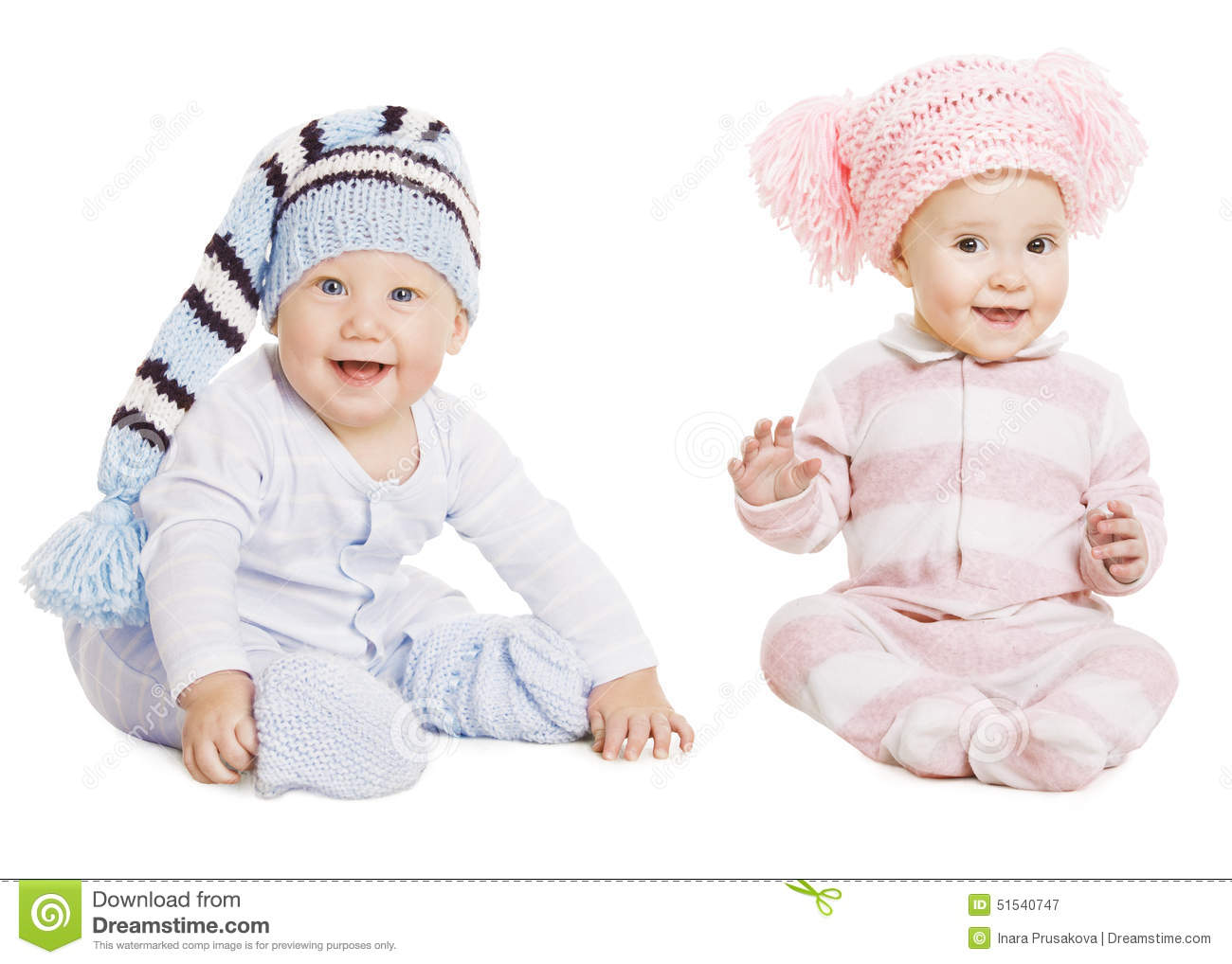 Baby Boy Girl Portrait, Little Kids Woolen Hat, Children Crawlers Creepers