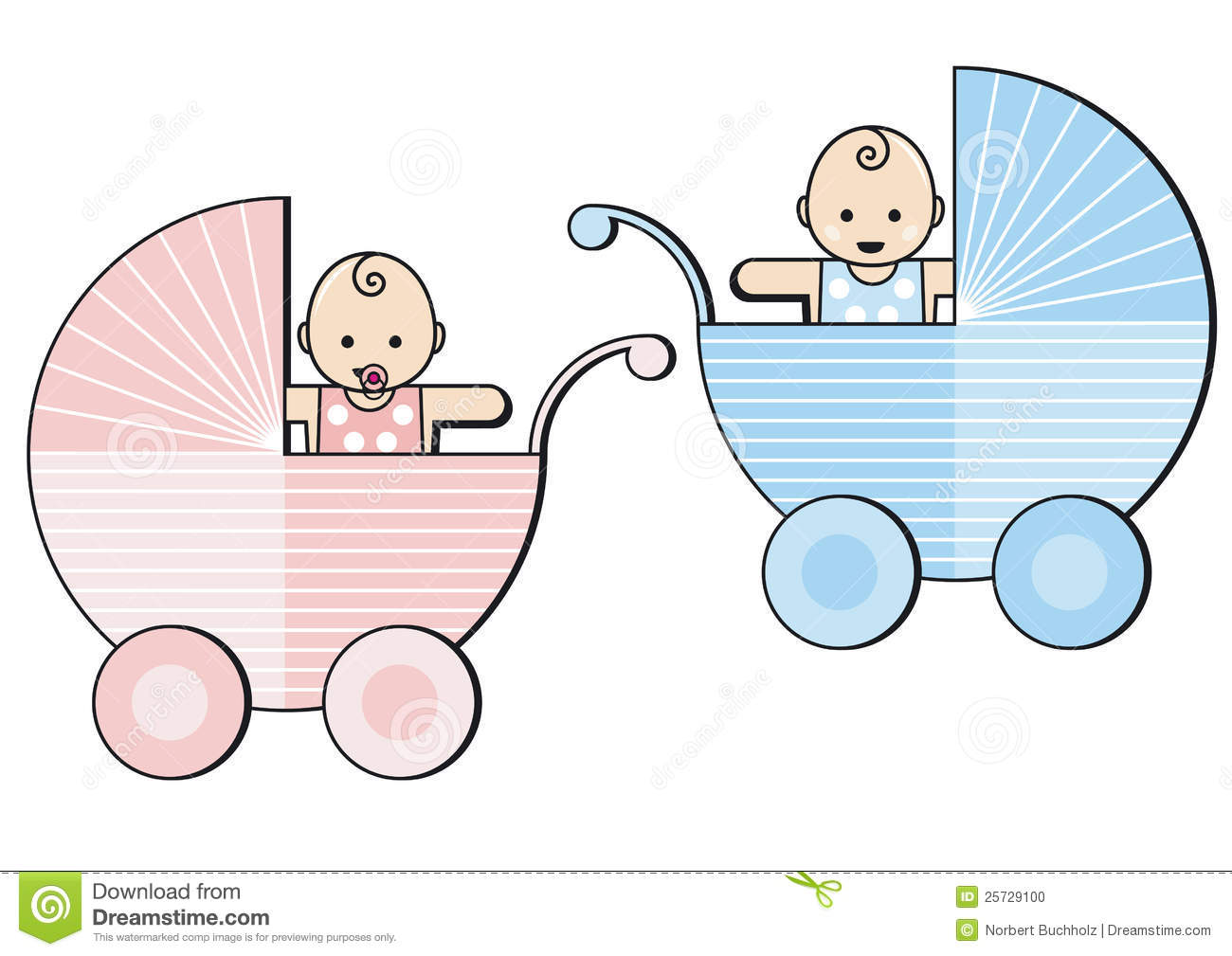 Stock Photo: Baby boy and girl in prams. Image: 25729100