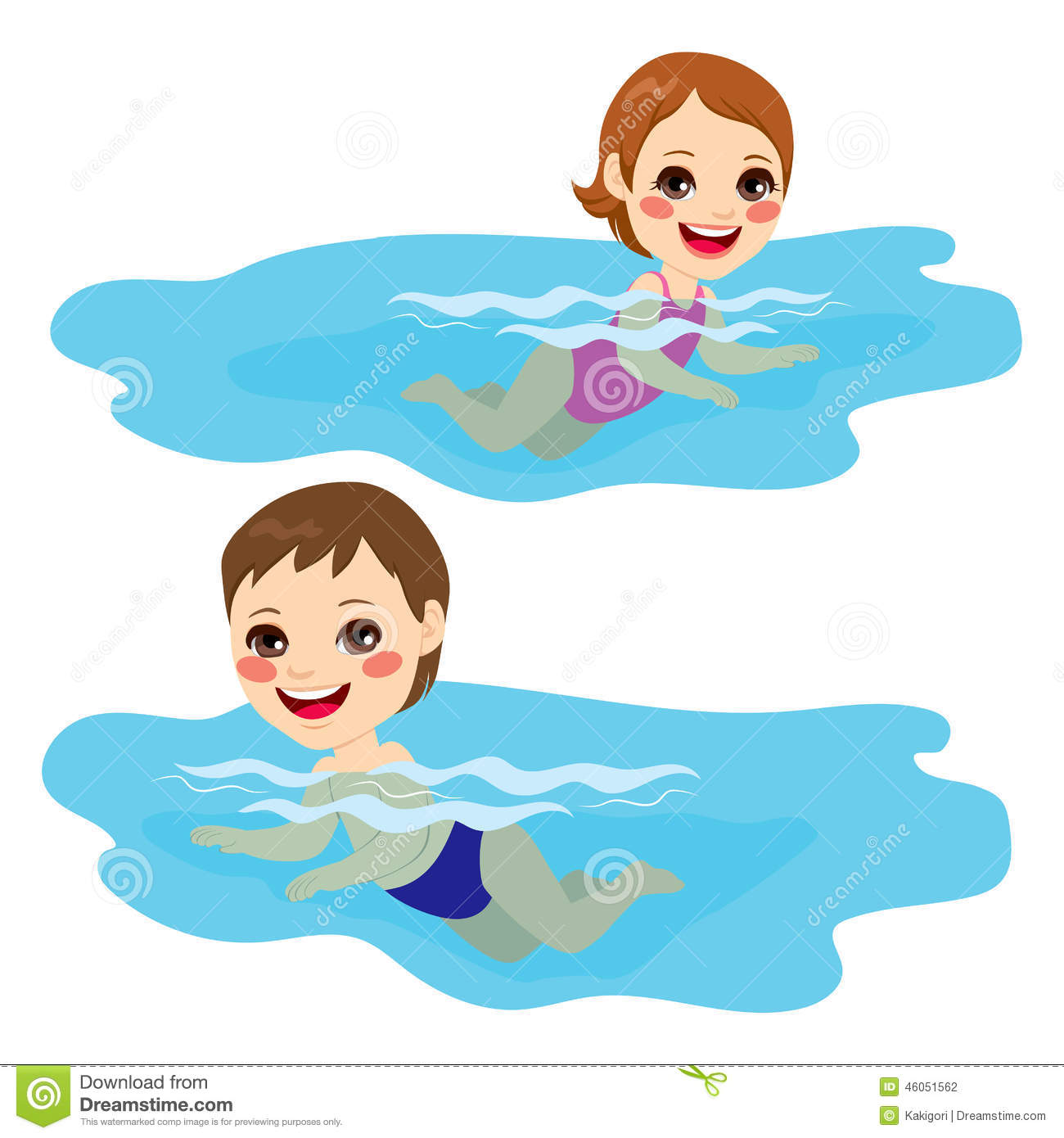 Baby Boy And Girl Swimming Stock Vector - Image: 46051562