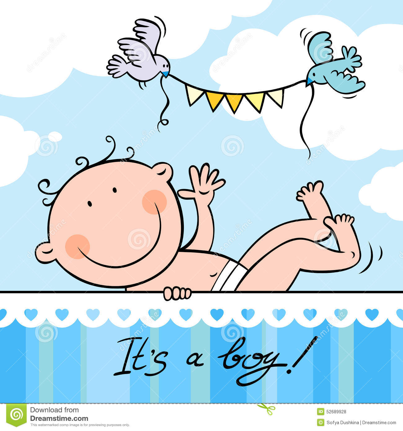 Baby Boy Greeting Card Stock Vector - Image: 52689928