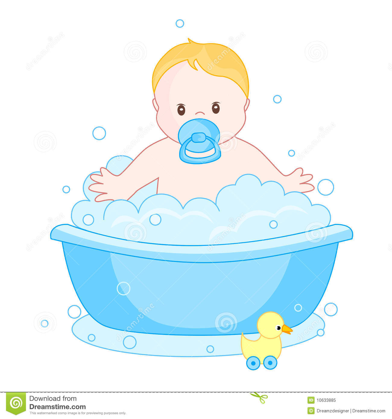 Baby boy having a bath stock vector. Illustration of baby - 10633885