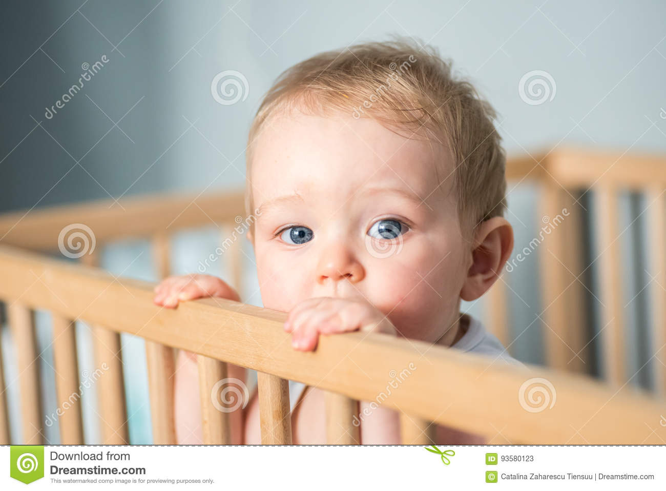 Baby boy in his crib stock image. Image of innocence ...