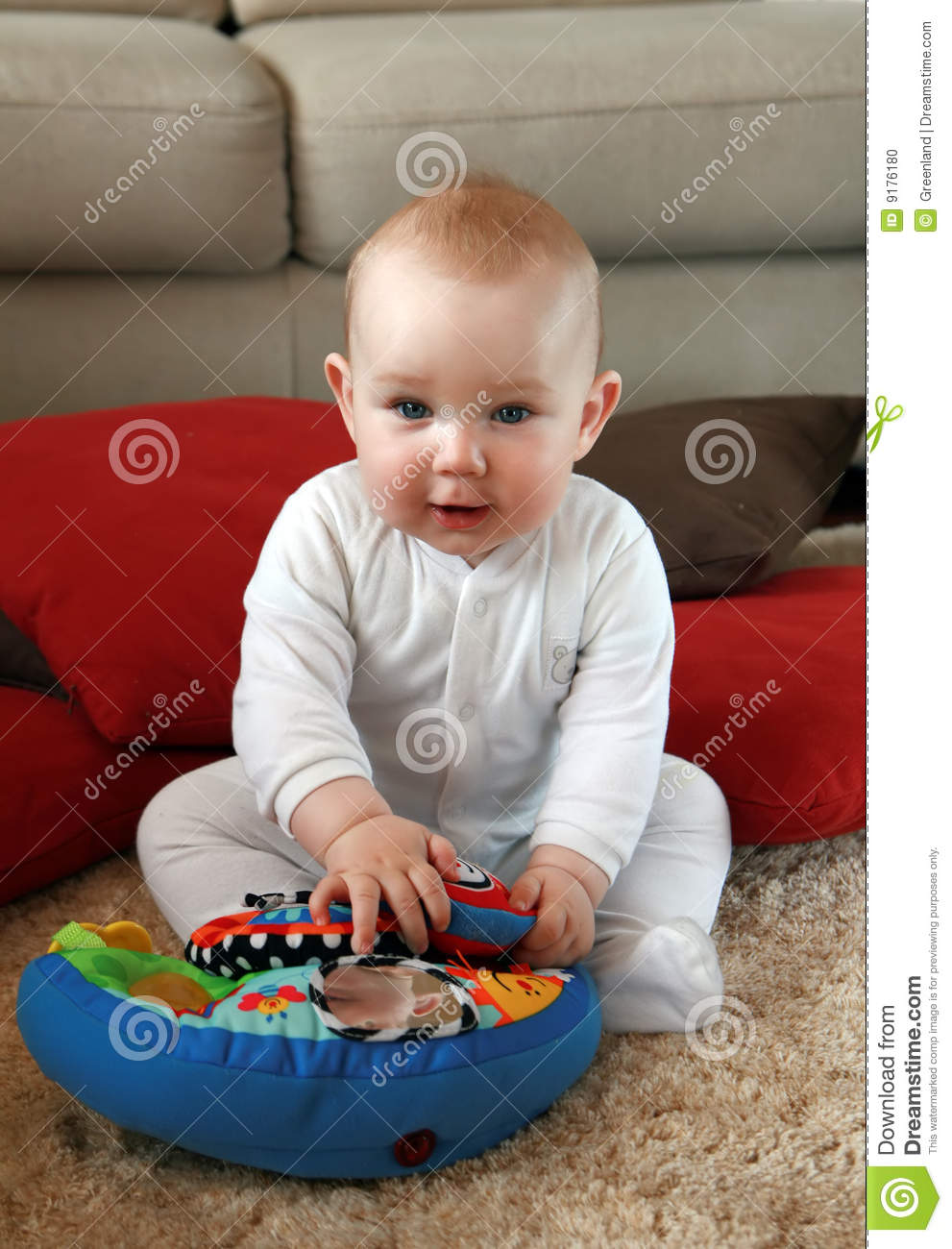 Boy Toys Baby : Baby boy with his first toys stock photo image