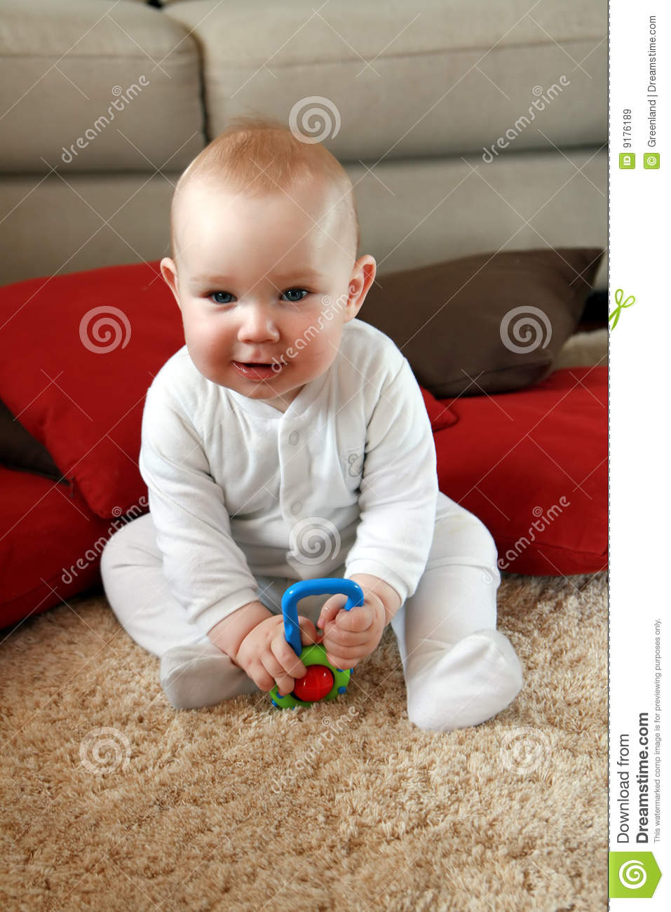 Boy Toys Baby : Baby boy with his first toys royalty free stock images