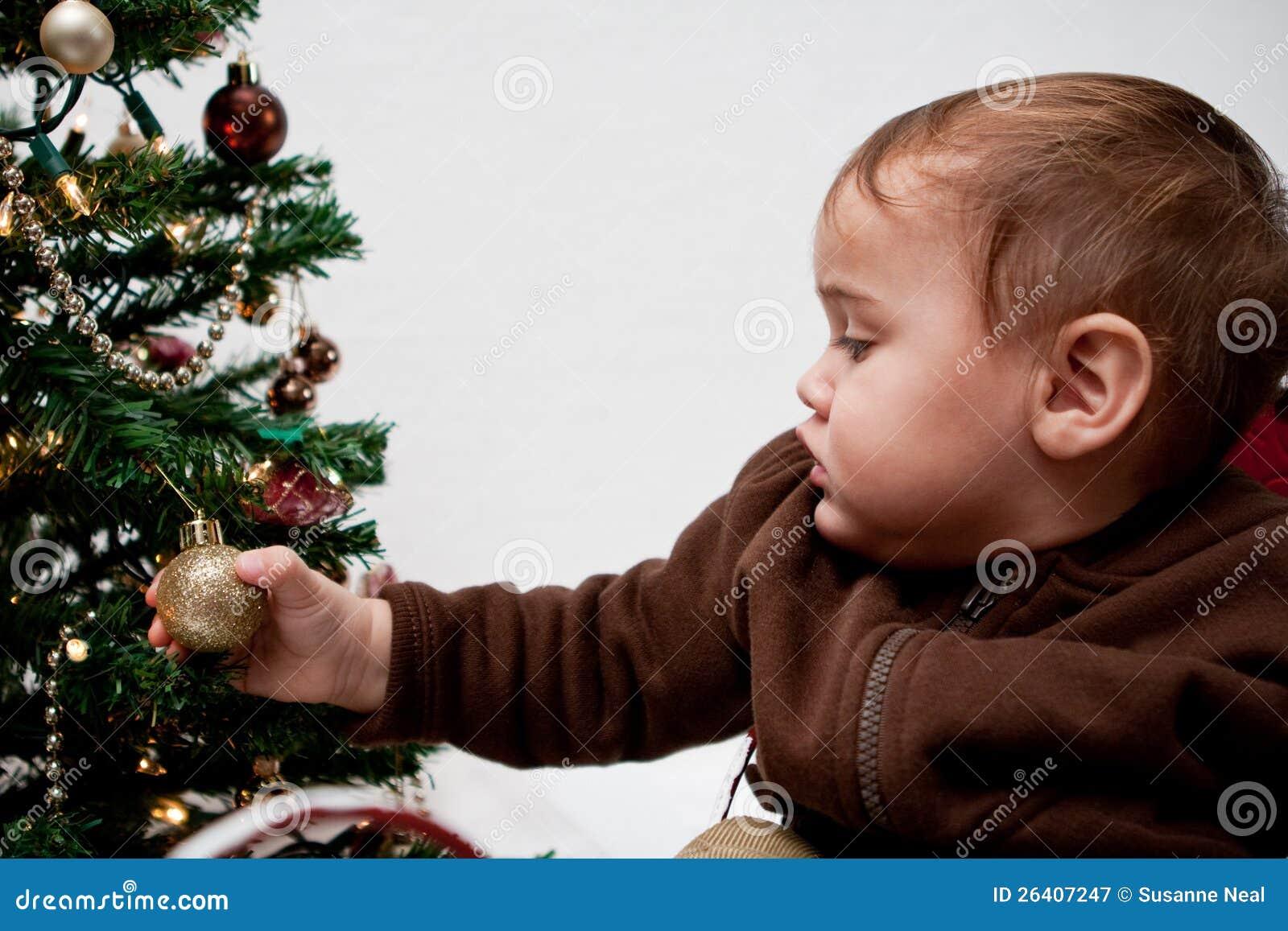 Baby boy christmas ornaments - Baby Boy Holding Christmas Ornament On Tree
