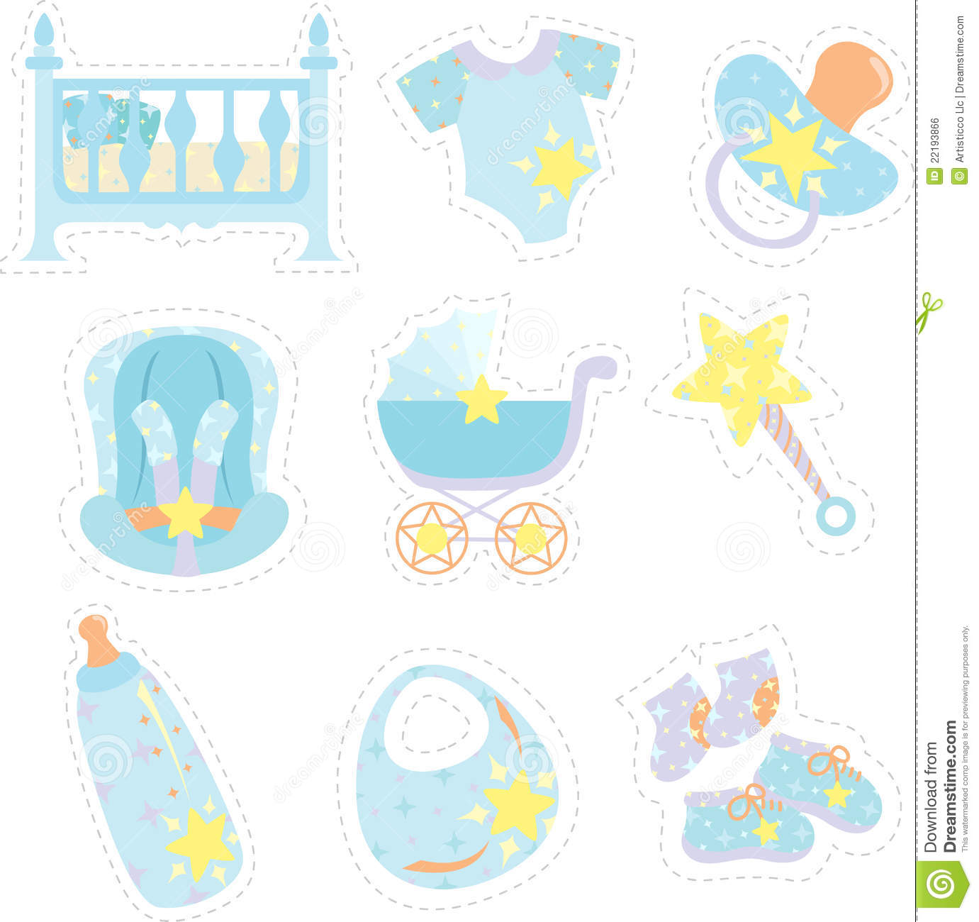 Baby boy items icons stock vector. Illustration of bottles ...
