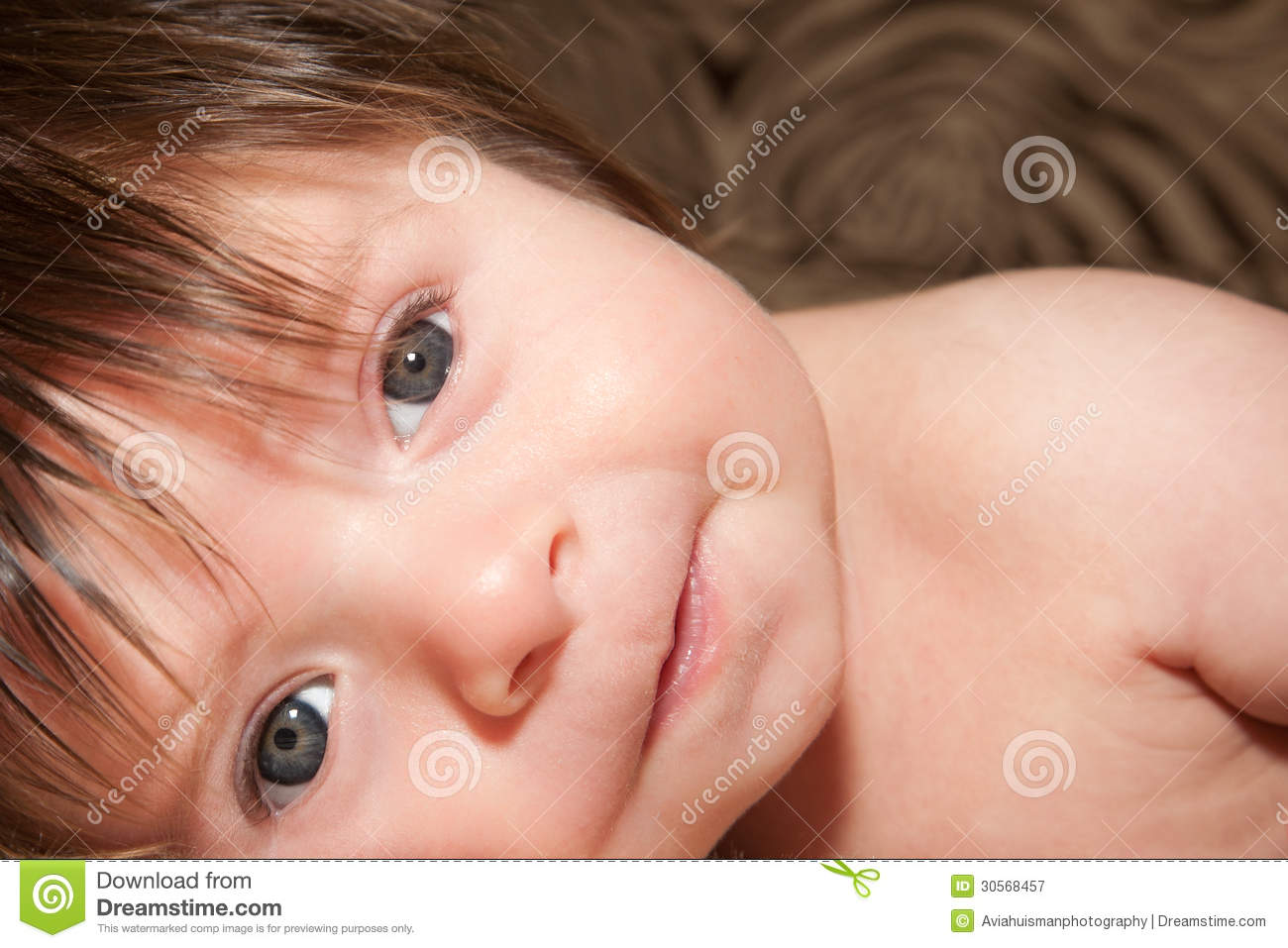 Baby Boy Lost in Thought stock image. Image of crawl ...