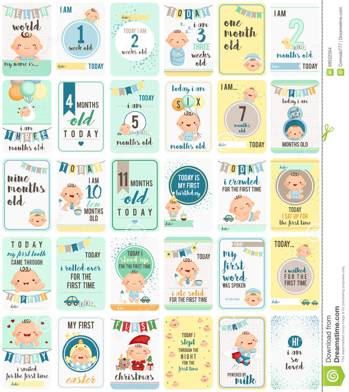 BLUE BABY BOY MILESTONE CARDS MONTHS 1-11 /& 1 YEAR BABY SHOWER