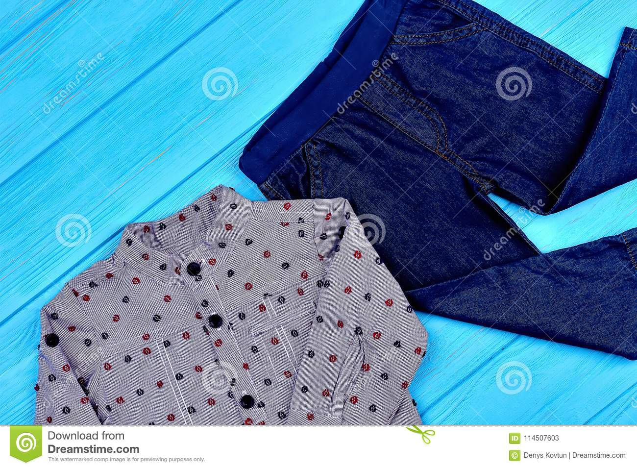 e8c16f0ae Baby-boy Modern Jeans Apparel. Stock Image - Image of little ...