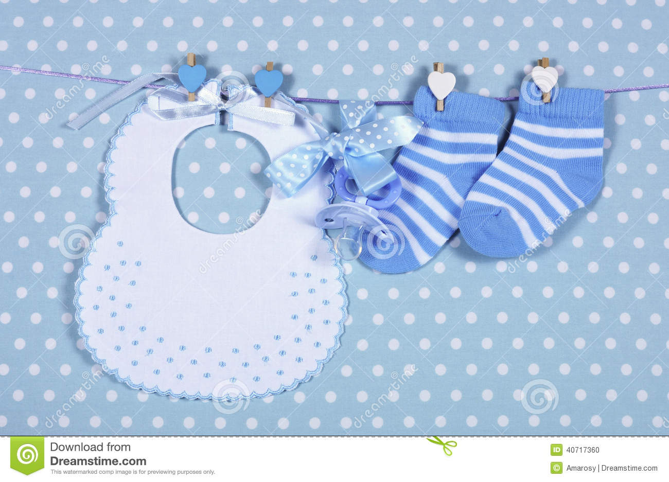 Baby Boy Nursery Blue Socks And Bib Stock Photo Image